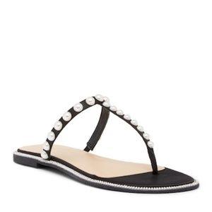 BADGLEY MISCHKA Jeweled Black Satin Sandal